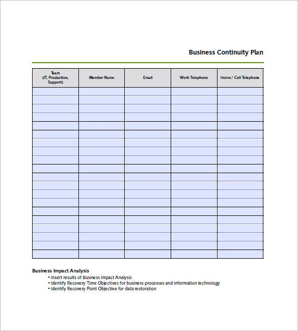 business continuity plan example document