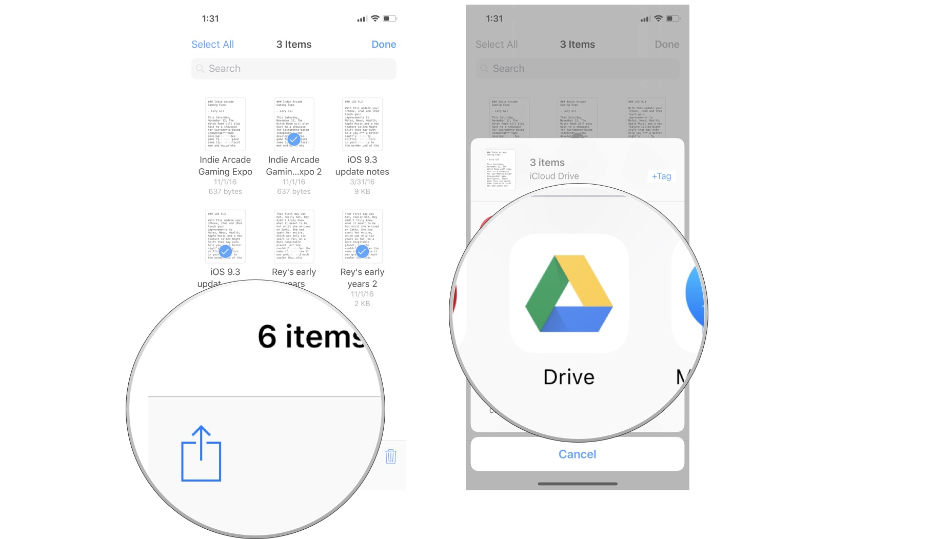 send a document to icloud drive