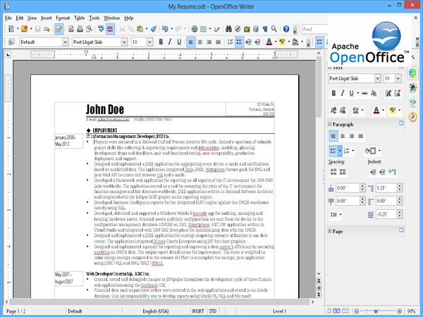 comment mettre un document open office en word 2016
