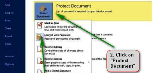 how to protect document in ms word 2013