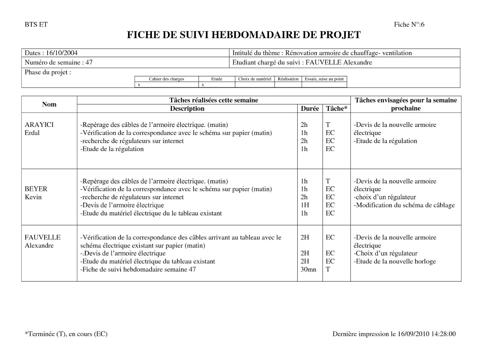 document excel suivi de projet