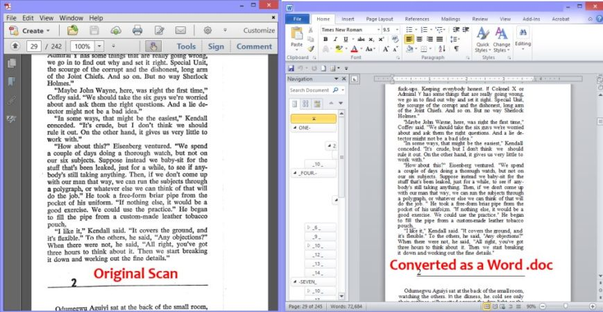 transfer scanned document to word