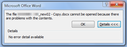 cannot open word document because there are problems with content