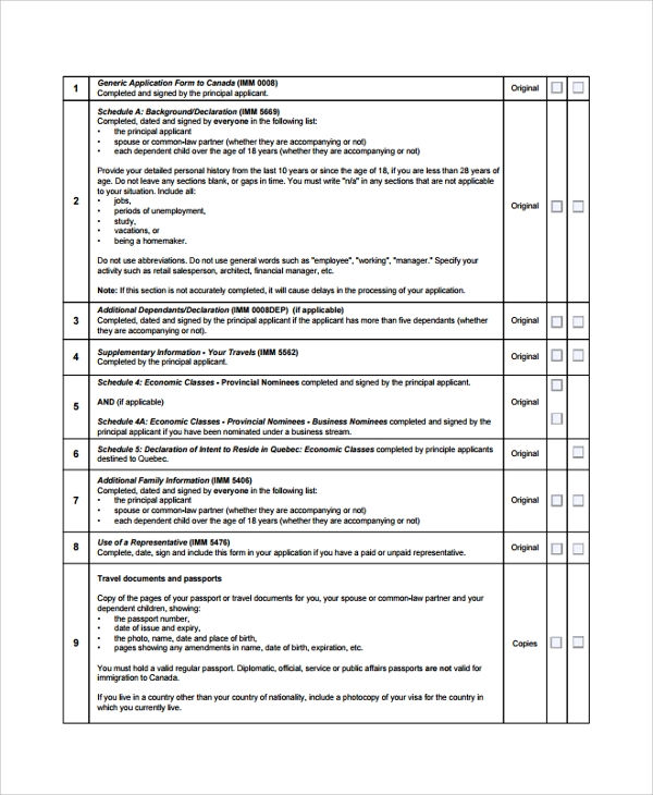 cic.gc.ca document list work experience