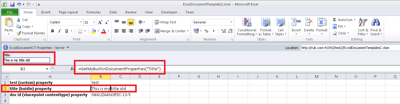 how to change title of excel document