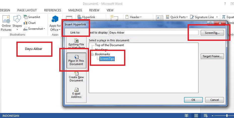 ms word hyperlink inside document