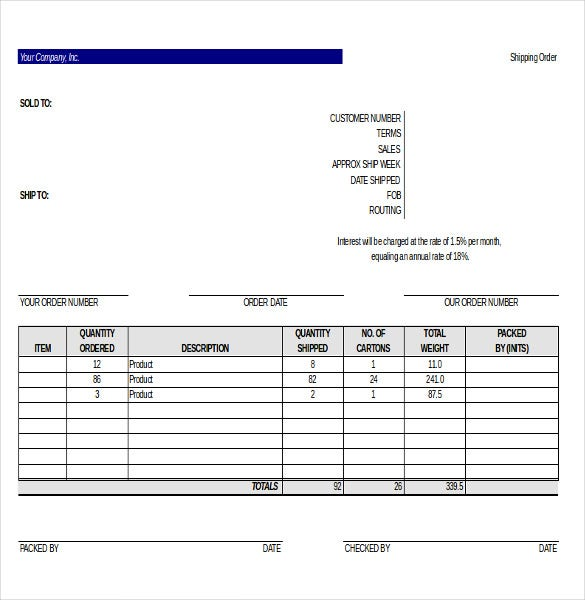 order of item on shipping document