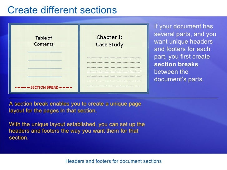 can part of word document have header