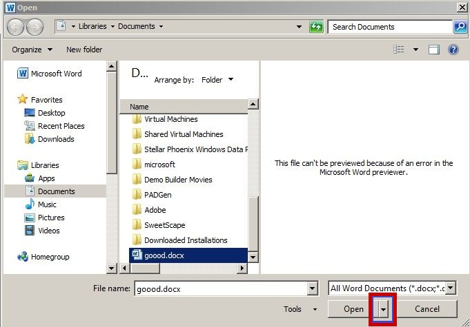 how to open auto recovery word document file corrupted