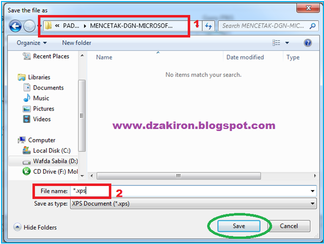 where does microsoft xps document writer save to