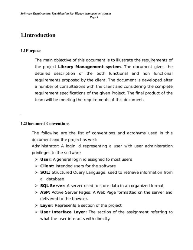 vision document for library management system