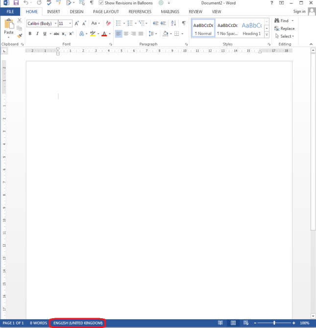 how to change language on word document 2007