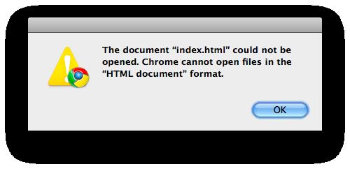 chrome html document won t open