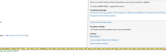 comexception 0x8004180b the document has not been opened