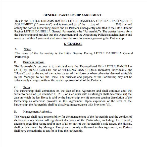 business partnership agreement word document