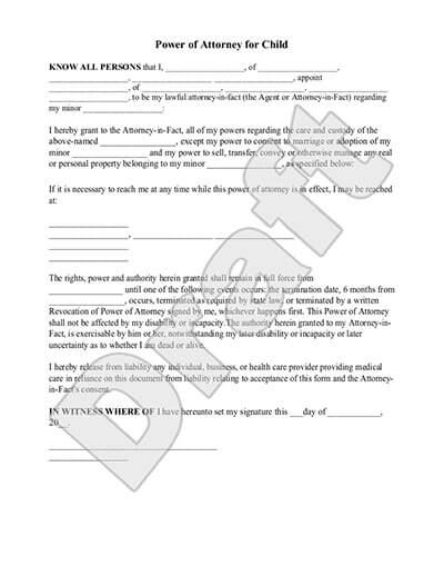 document to take child out of country