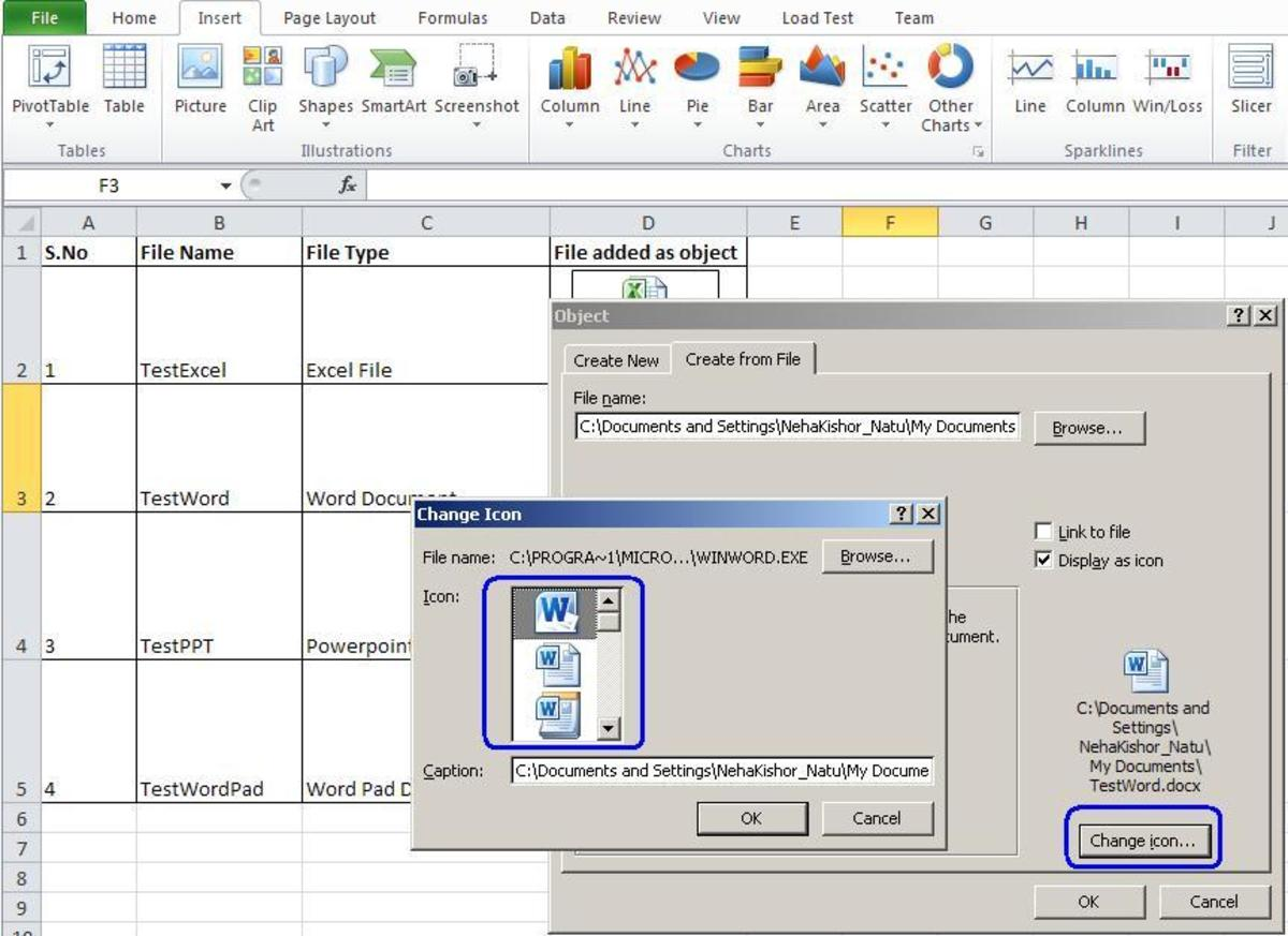 how to embed a document in excel