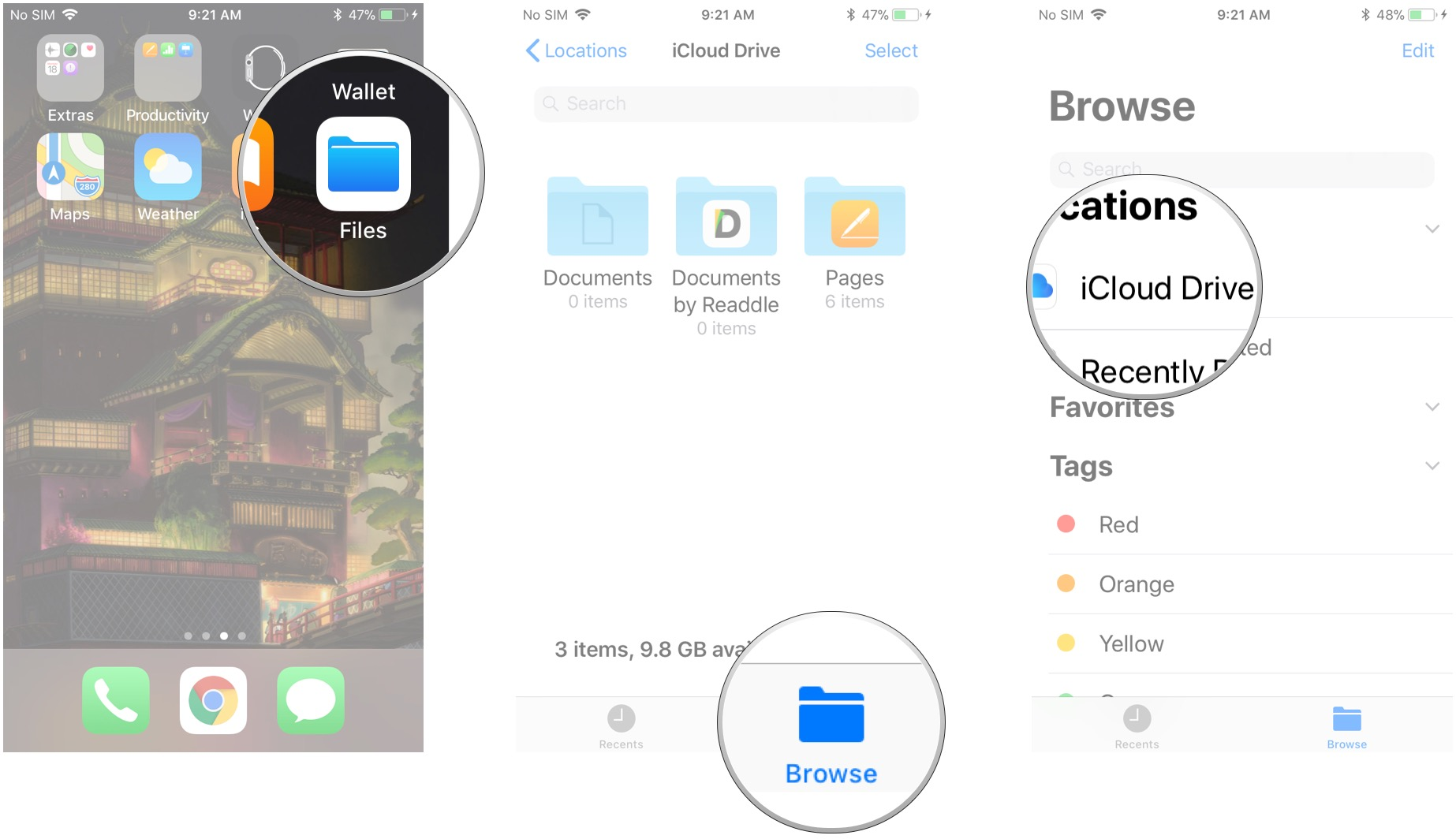 save document to icloud drive from iphone